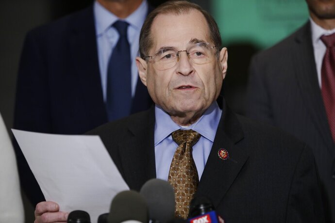 U.S. Rep. Jerrold Nadler, D-N.Y., chair of the House Judiciary Committee, speaks during a news conference, Wednesday, April 17, 2019, in New York. The Justice Department on Thursday plans to release a redacted version of the special counsel's report on Russian election interference and Donald Trump's campaign. (AP Photo/Frank Franklin II)