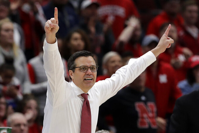 Nebraska head coach Tim Miles reacts during the first half of an NCAA college basketball game against the Maryland in the second round of the Big Ten Conference tournament, Thursday, March 14, 2019, in Chicago. (AP Photo/Nam Y. Huh)