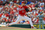 Cincinnati Reds' Sonny Gray throws during the first inning of a baseball game against the Los Angeles Dodgers in Cincinnati, Saturday, Sept. 18, 2021. (AP Photo/Aaron Doster)