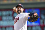 Minnesota Twins relief pitcher Nick Vincent throws against the Toronto Blue Jays in the sixth inning of a baseball game, Sunday, Sept. 26, 2021, in St. Paul, Minn. (AP Photo/Andy Clayton-King)