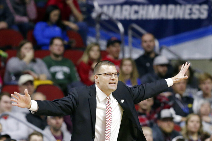 Bradley coach Brian Wardle gestures during the first half of a first round men's college basketball game against Michigan State in the NCAA Tournament in Des Moines, Iowa, Thursday, March 21, 2019. (AP Photo/Nati Harnik)