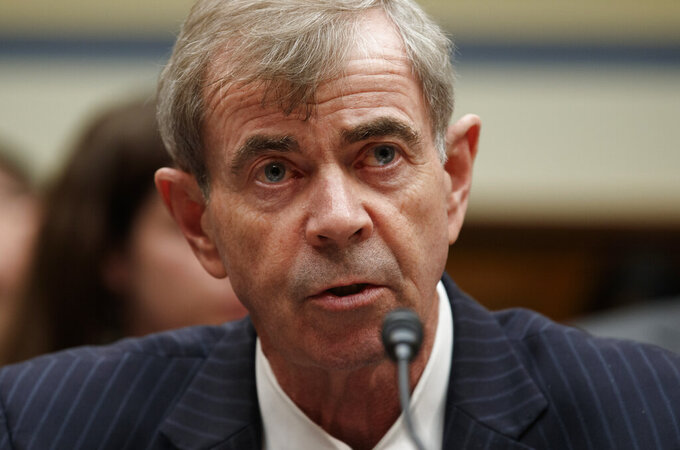 """FILE - Massachusetts Secretary of the Commonwealth Bill Galvin testifies on Capitol Hill in Washington, Wednesday, May 22, 2019. Regulators in Massachusetts claim Robinhood Financial targets and manipulates inexperienced investors and has failed to prevent costly outages on its popular stock trading platform. In an administrative complaint filed Wednesday, Dec. 16, 2020 by Galvin, the state alleges that Robinhood violated securities laws by aggressively marketing itself to Massachusetts investors """"without regard for the best interest of its customers,"""" while also failing to maintain a properly working platform as its number of users exploded.  (AP Photo/Carolyn Kaster, file)"""