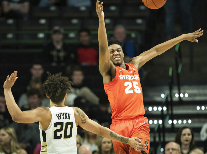 Syracuse guard Tyus Battle (25) loses control of the ball while pressured by Wake Forest guard Michael Wynn (20) during the second half of an NCAA college basketball game, Saturday, March 2, 2019, at Joel Coliseum in Winston-Salem, N.C. (Allison Lee Isley/The Winston-Salem Journal via AP)