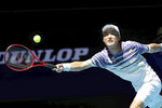 Japan's Go Soeda plays against Spain's Roberto Bautista Agut during their match at the ATP Cup in Perth, Australia, Wednesday, Jan. 8, 2020. (AP Photo/Trevor Collens)