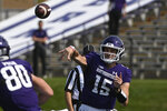 Northwestern quarterback Hunter Johnson (15) passes the ball against Indiana State during the first half of an NCAA college football game in Evanston, Ill, Saturday, Sept. 11, 2021. (AP Photo/Matt Marton)