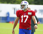 Buffalo Bills quarterback Josh Allen (17) lines up for a drill during NFL football practice in Orchard Park, N.Y., Thursday, Sept. 3, 2020. (James P. McCoy/The Buffalo News via AP, Pool)