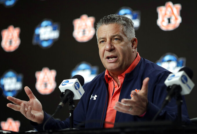 Auburn head coach Bruce Pearl speaks during a news conference at the NCAA men's college basketball tournament Thursday, March 28, 2019, in Kansas City, Mo. Auburn plays North Carolina in a Midwest Regional semifinal on Friday. (AP Photo/Jeff Roberson)