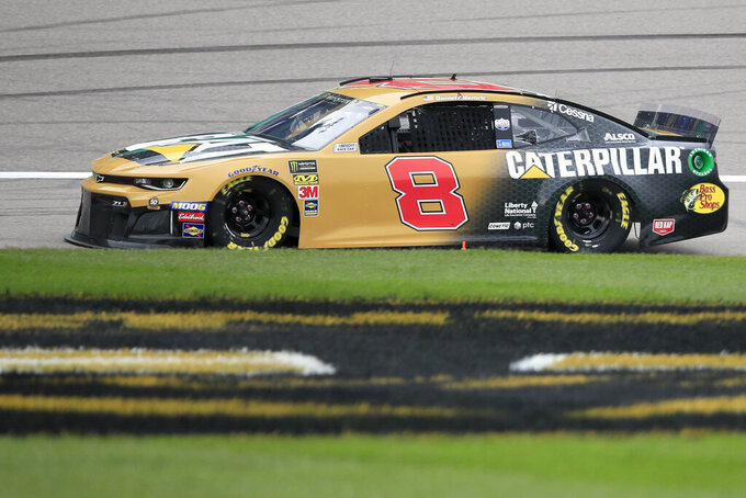 Daniel Hemric (8) qualifies for a NASCAR Cup Series auto race at Kansas Speedway in Kansas City, Kan., Saturday, Oct. 19, 2019. Hemric won the pole for Sunday's race. (AP Photo/Orlin Wagner)