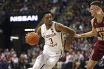 Florida State's Trent Forrest, left, works the ball up court against the defense of Boston College's Luka Kraljevic in the first half of an NCAA college basketball game Saturday, March 7, 2020, in Tallahassee, Fla. (AP Photo/Steve Cannon)