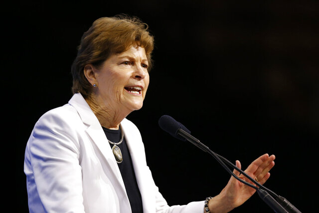 FILE - In this Sept. 7, 2019, file photo, Sen. Jeanne Shaheen, D-N.H., speaks during the New Hampshire state Democratic Party convention in Manchester, N.H. Shaheen is sponsoring a bill to ban visas and freeze assets of Lebanese officials involved in the detention of an American citizen since September. Shaheen, a Democrat, is expected to introduce the bill Monday, Feb. 24, 2020, along with Republican Sen. Ted Cruz, of Texas. (AP Photo/Robert F. Bukaty, File)
