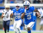Air Force wide receiver Ronald Cleveland (3) runs for a touchdown against Navy during an NCAA college football game at Falcon Stadium at the U.S. Air Force Academy, Saturday Oct. 6, 2018, in Colorado Springs, Colo.  (Dougal Brownlie,/The Gazette via AP)