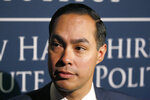 "FILE- In this Jan. 16, 2019, file photo Julian Castro, former U.S. Secretary of Housing and Urban Development and candidate for the 2020 Democratic presidential nomination, speaks to the media at Saint Anselm College in Manchester, N.H. Castro isn't ruling out direct payments to African-Americans for the legacy of slavery, a stand separating him from his 2020 rivals. The former housing secretary says, ""If under the Constitution we compensate people because we take their property, why wouldn't you compensate people who actually were property.'' (AP Photo/Mary Schwalm, File)"