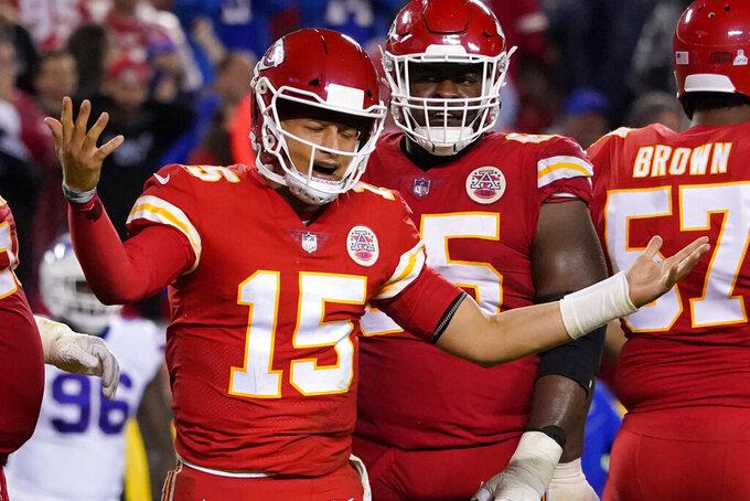 Kansas City Chiefs quarterback Patrick Mahomes reacts during the second half of an NFL football game against the Buffalo Bills Sunday, Oct. 10, 2021, in Kansas City, Mo. (AP Photo/Ed Zurga)