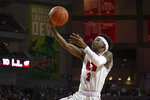 Nebraska guard Cam Mack (3) makes a lay up against Wisconsin during the first half of an NCAA college basketball game in Lincoln, Neb., Saturday, Feb. 15, 2020. (AP Photo/John Peterson)