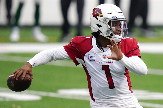 Arizona Cardinals quarterback Kyler Murray looks to pass during the first half of an NFL football game against the New York Jets, Sunday, Oct. 11, 2020, in East Rutherford. (AP Photo/Frank Franklin II)