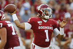 Oklahoma quarterback Jalen Hurts (1) throws in the second quarter of an NCAA college football game against South Dakota Saturday, Sept. 7, 2019, in Norman, Okla. (AP Photo/Sue Ogrocki)