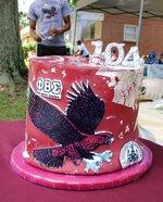 Centenarian Louis Frazier Martin's 104 birthday cake is displayed at his celebration in Chesterfield, Va., on July 3, 2021.  (Kristi K. Higgins/The Progress-Index via AP)
