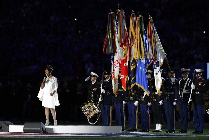 Gladys Knight sings the national anthem, before the NFL Super Bowl 53 football game between the Los Angeles Rams and the New England Patriots Sunday, Feb. 3, 2019, in Atlanta. (AP Photo/Jeff Roberson)