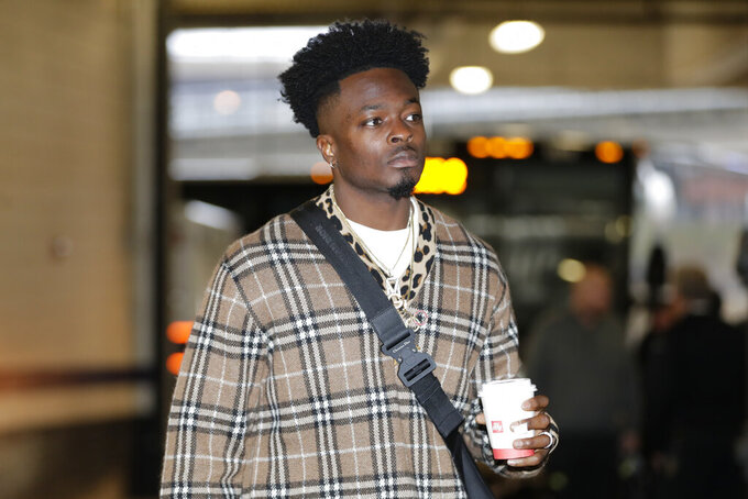 San Francisco 49ers wide receiver Marquise Goodwin arriving for a NFL football game against the Baltimore Ravens, Sunday, Dec. 1, 2019, in Baltimore, Md. (AP Photo/Julio Cortez)