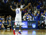 Seton Hall's Myles Powell (13) celebrates after making a three point shot against DePaul during the second half of an NCAA college basketball game Wednesday, Jan. 29, 2020, in Newark, N.J. (AP Photo/Noah K. Murray)