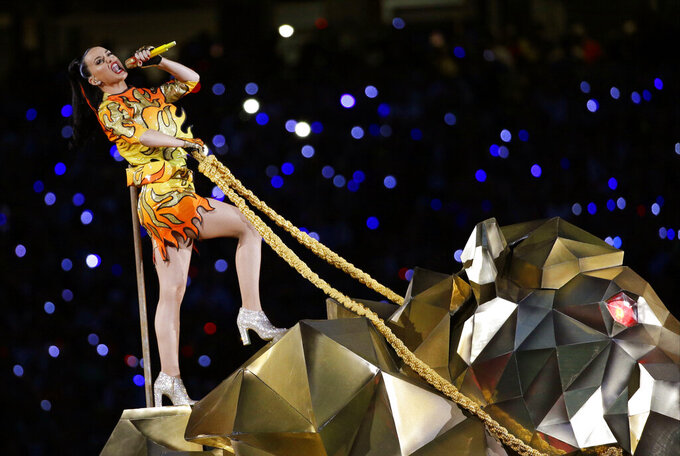 "FILE - In this Sunday, Feb. 1, 2015 file photo, singer Katy Perry performs during halftime of NFL Super Bowl XLIX football game between the Seattle Seahawks and the New England Patriots in Glendale, Ariz. The penalty phase in a copyright infringement trial will begin Tuesday, July 30, 2019, in Los Angeles and will determine how much Perry and other creators of her hit song ""Dark Horse"" will owe for improperly copying elements of a 2009 Christian rap song. (AP Photo/David J. Phillip, File)"
