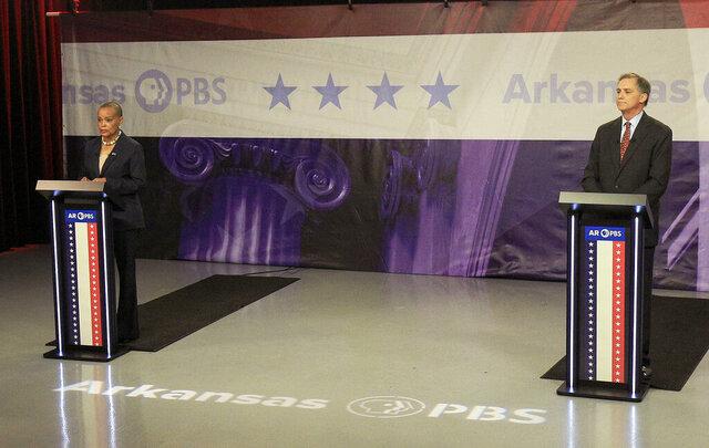 Sen. Joyce Elliott, left, and Congressman French Hill, candidates for the 2nd Congressional District, debate Monday, Oct. 12, 2020, at the Arkansas PBS studio in Conway, Ark. (Staton Breidenthal/The Arkansas Democrat-Gazette via AP)