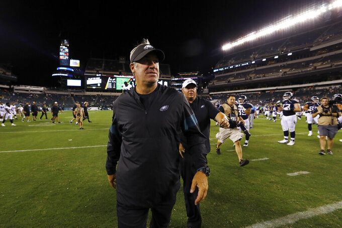 Philadelphia Eagles coach Doug Pederson walks off the field after the team's preseason NFL football game against the Tennessee Titans, Thursday, Aug. 8, 2019, in Philadelphia. Tennessee won 27-10. (AP Photo/Matt Rourke)