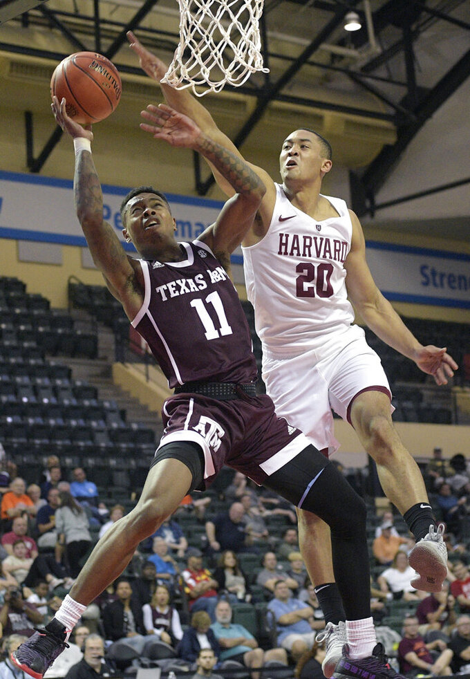 Bassey's 16 points helps Harvard beat Texas A&M 62-51