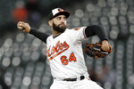 Baltimore Orioles starting pitcher Gabriel Ynoa throws to a Toronto Blue Jays batter during the first inning of a baseball game Thursday, Sept. 19, 2019, in Baltimore. (AP Photo/Julio Cortez)