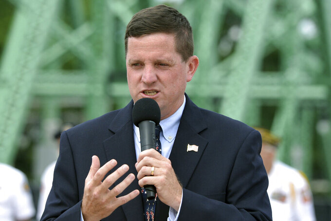 In this Aug. 8, 2017, file photo, Bennett Walsh, superintendent of the Soldiers' Home in Holyoke, speaks at an event in Westfield, Mass. Walsh and medical director David Clinton were indicted Thursday, Sept. 24, 2020, on charges of mishandling the coronavirus outbreak at the home for aging veterans where more than 70 died from COVID-19. (Don Treeger/The Republican)