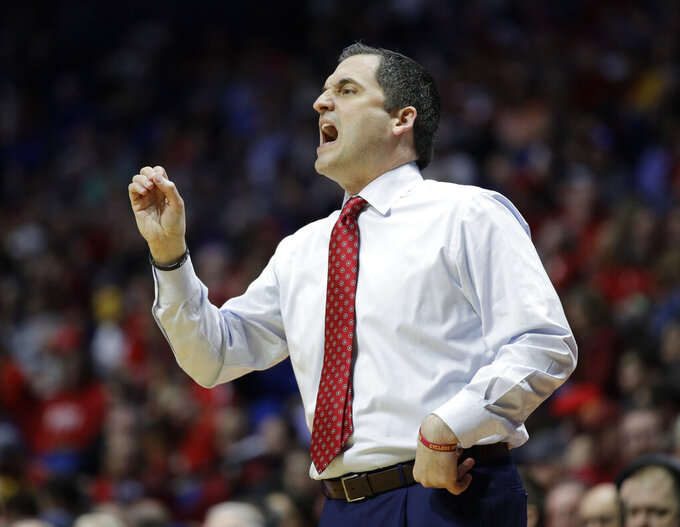 Iowa State head coach Steve Prohm talks to his team during the first half of a first round men's college basketball game against Ohio State in the NCAA Tournament Friday, March 22, 2019, in Tulsa, Okla. (AP Photo/Charlie Riedel)