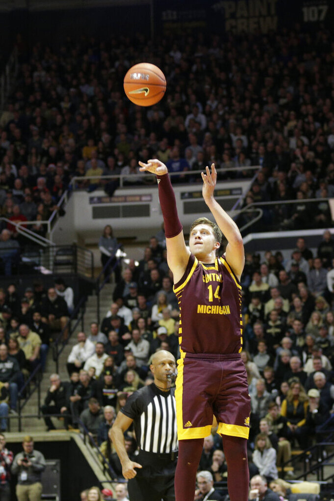 Central Michigan forward David DiLeo (14) shoots during the first half of an NCAA college basketball game in West Lafayette, Ind., Saturday, Dec. 28, 2019. (Nikos Frazier/Journal & Courier via AP)