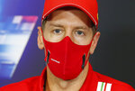 Ferrari driver Sebastian Vettel of Germany attends a news conference at the Istanbul Park circuit racetrack in Istanbul, Thursday, Nov. 12, 2020, ahead of the Formula One Turkish Grand Prix that will take place on Sunday. (Antonin Vincent/Pool via AP)