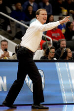 Oregon coach Dana Altman yells during the first half of the team's second-round game against UC Irvine in the NCAA men's college basketball tournament Sunday, March 24, 2019, in San Jose, Calif. (AP Photo/Ben Margot)