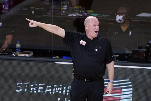Orlando Magic head coach Steve Clifford yells toward the court during the first half of an NBA basketball first round playoff game against the Milwaukee Bucks Saturday, Aug. 29, 2020, in Lake Buena Vista, Fla. (AP Photo/Ashley Landis)