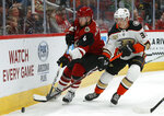 Arizona Coyotes defenseman Niklas Hjalmarsson (4) and Anaheim Ducks right wing Jakob Silfverberg (33) race for the puck in the first period during an NHL hockey game, Thursday, March 14, 2019, in Glendale, Ariz. (AP Photo/Rick Scuteri)
