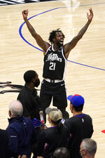 Los Angeles Clippers guard Patrick Beverley celebrates in the closing seconds during the second half in Game 6 of a second-round NBA basketball playoff series against the Utah Jazz Friday, June 18, 2021, in Los Angeles. (AP Photo/Mark J. Terrill)