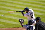 Detroit Tigers' Willi Castro connects for an RBI single during the second inning of a baseball game against the New York Yankees, Saturday, May 29, 2021, in Detroit. (AP Photo/Carlos Osorio)