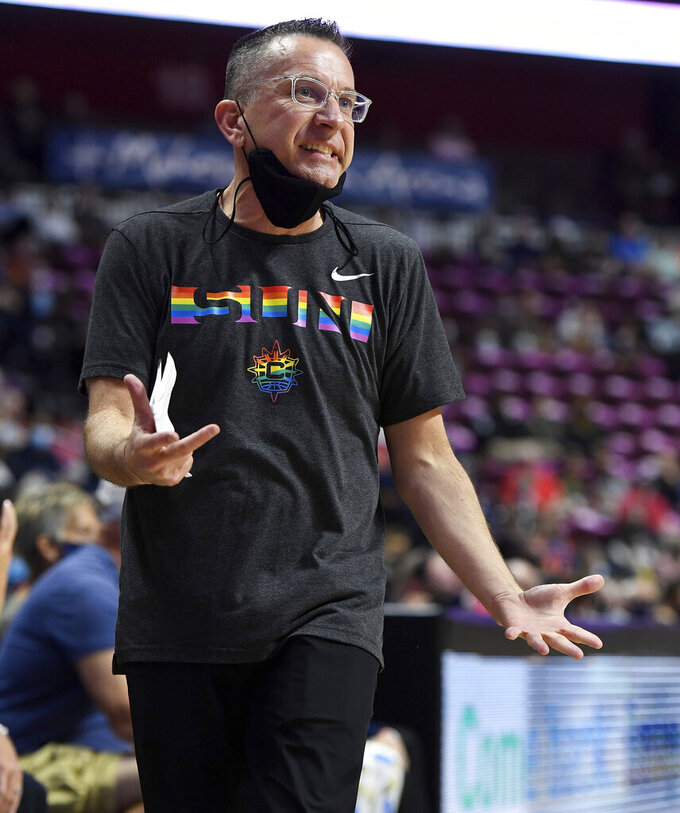 Connecticut Sun head coach Curt Miller argues with an official during the team's WNBA basketball game against the New York Liberty on Wednesday, Sept. 15, 2021, in Uncasville, Conn. (Sean D. Elliot/The Day via AP)