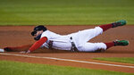 Boston Red Sox's Alex Verdugo advances to third on a single by Xander Bogaerts during the first inning of the team's baseball game against the Baltimore Orioles in Boston, Wednesday, Sept. 23, 2020, at Fenway Park. (AP Photo/Charles Krupa)