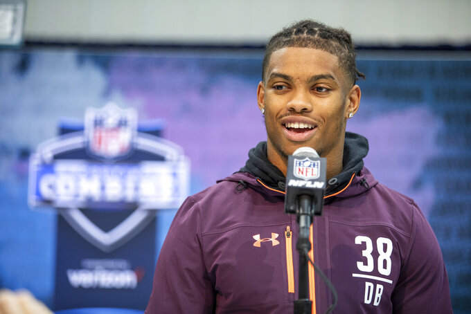 Delaware defensive back Nasir Adderley talks to the media at the NFL Scouting Combine on Sunday, March 3 2019 in Indianapolis. (Detroit Lions via AP)