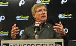 Washington Redskins head coach Bill Callahan answers questions after an NFL football game against the Buffalo Bills, Sunday, Nov. 3, 2019, in Orchard Park, N.Y. (AP Photo/Adrian Kraus)