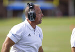 Presbyterian head coach Kevin Kelley coaches his team against St. Andrews during a college football game, Saturday, Sept. 4, 2021, at Bailey Memorial Stadium in Clinton, S.C. (Sam Wolfe/The State via AP)