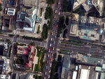 This satellite image captured on Tuesday, Oct. 1, 2019 and provided by 2019 Maxar Technologies, shows a military parade to commemorate the 70th anniversary of the founding of Communist China in Beijing. (2019 Maxar Technologies via AP)