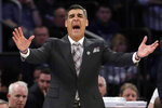 Villanova head coach Jay Wright reacts during the first half of an NCAA college basketball game against Providence at the Big East Conference tournament, Thursday, March 14, 2019, in New York. (AP Photo/Frank Franklin II)