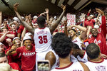Alabama's Raymond Hawkins (35) encourages the crowd after the team's NCAA college basketball game against Auburn, Wednesday, Jan. 15, 2020, in Tuscaloosa, Ala. (AP Photo/Vasha Hunt)