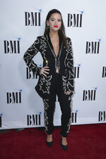 Maren Morris arrives at 67th Annual BMI Country Awards ceremony at BMI Music Row offices on Tuesday, Nov. 12, 2019, in Nashville, Tenn. (Photo by Al Wagner/Invision/AP)