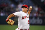 Los Angeles Angels starting pitcher Jose Suarez throws to the plate during the first inning of a baseball game against the Boston Red Sox, Friday, Aug. 30, 2019, in Anaheim, Calif. (AP Photo/Mark J. Terrill)