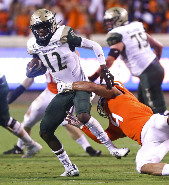 Virginia linebacker Jordan Mack (4) sacks William & Mary quarterback Hollis Mathis (12) during the first half of an NCAA college football game in Charlottesville, Va., Friday, Sept. 6, 2019. (AP Photo/Andrew Shurtleff)