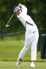 Jin Young Ko, of South Korea, hits off the 12th tee during the second round of the KPMG Women's PGA Championship golf tournament, Friday, June 21, 2019, in Chaska, Minn. (AP Photo/Charlie Neibergall)